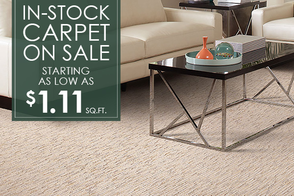 In-stock carpet on sale, starting as low as $1.11 Sq. Ft.! Check out all the selections we have to offer at our showroom in Astoria, Oregon!
